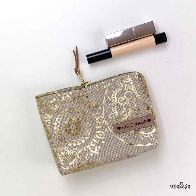 Kosmetiktasche klein - Mandala gold/beige