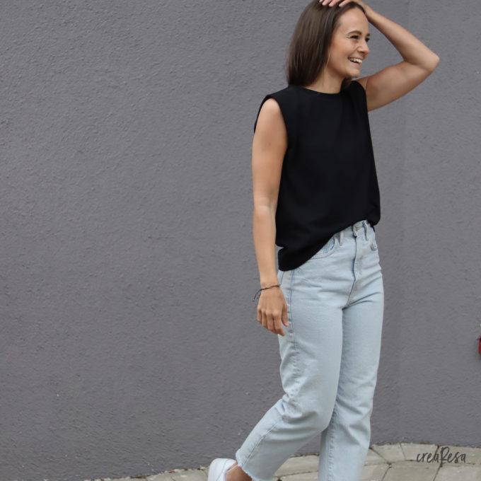 Shirt Sonni mit Schulterpolstern - schwarz