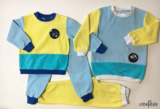 Kinderschlafanzug aus Frottee genäht