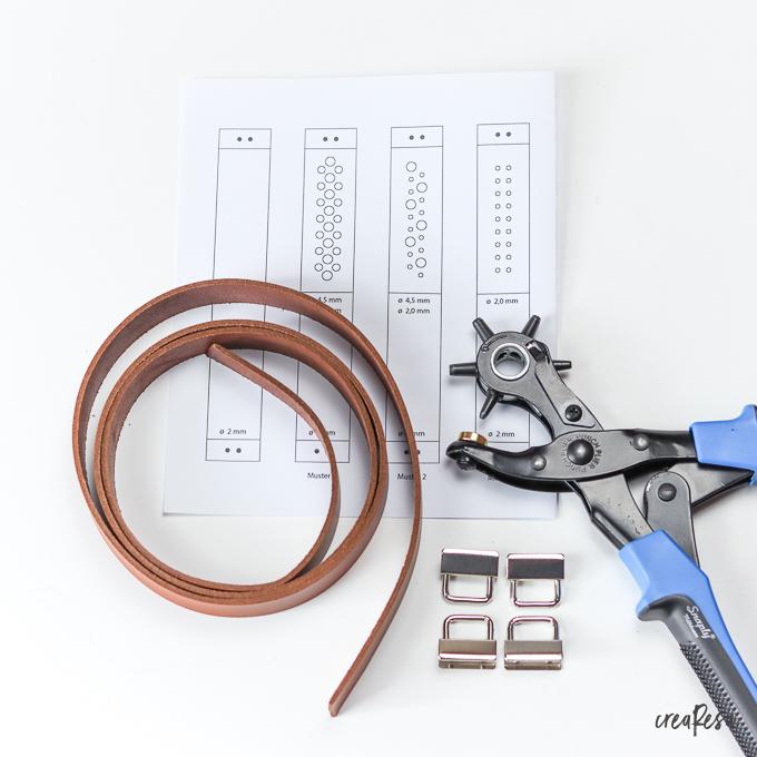 Material für die Schlüsselanhänger aus Leder