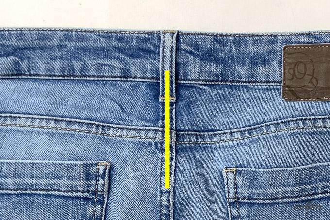 So sieht es bei gekauften Jeans aus