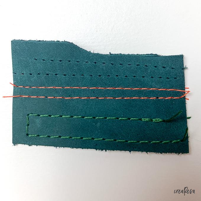 Nadelstiche bleiben in Leder sichtbar