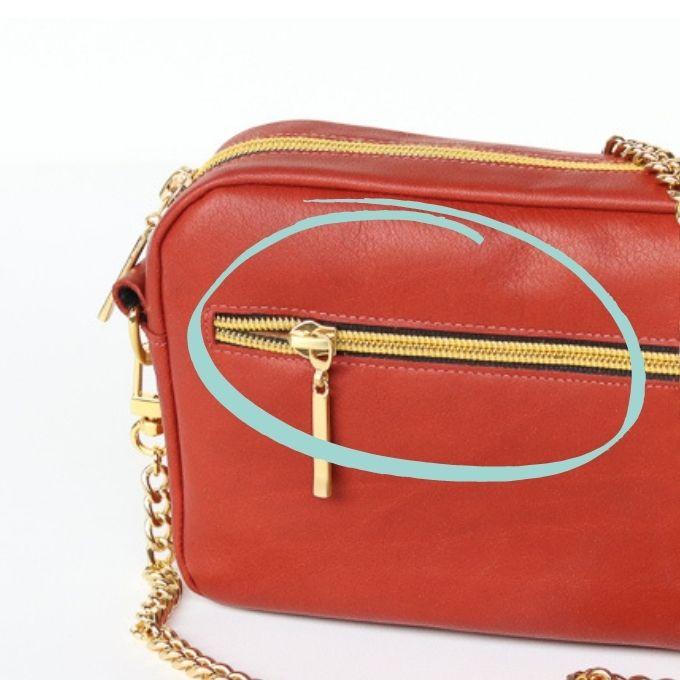 Tasche mit Reißverschluss in Leder